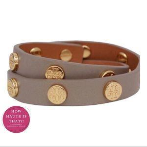 Tory Burch Studded Leather Wrap Bracelet